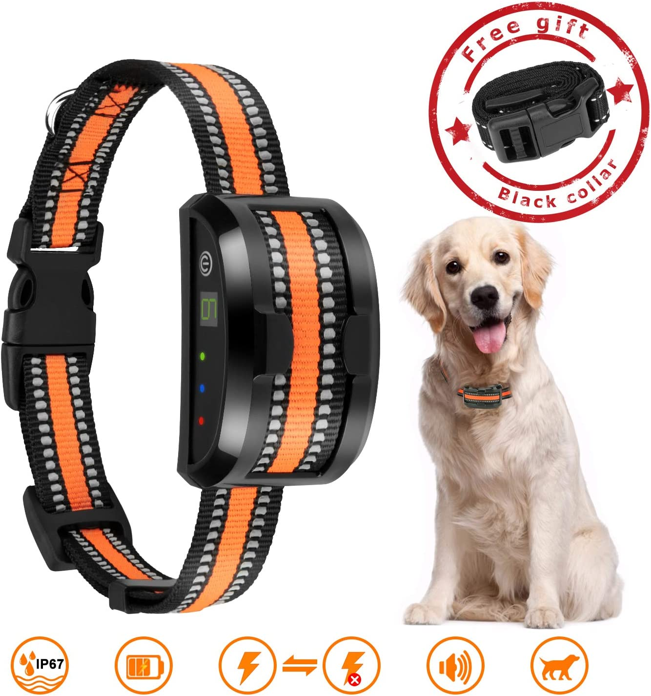 Rechargeable Bark Collar-Anti Barking Collar with Beep Vibration and No Harm Shock Smart Detection Module Waterproof Stop Bark Collar for Small Medium Large Dogs