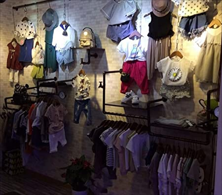 Perchero de Pared Tamaño: 33 * 138cm Tienda de Ropa 3 Storeyed Shelves YMJ Perchero Vintage Loft Iron Hose Coat Rack Sala de Estar Dormitorio Montaje de Pared Coat Display Rack