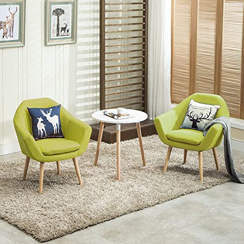 Magshion 2 Pcs Elegant Upholstered Fabric Club Chair Accent Chair W 2 Free Pillows Green
