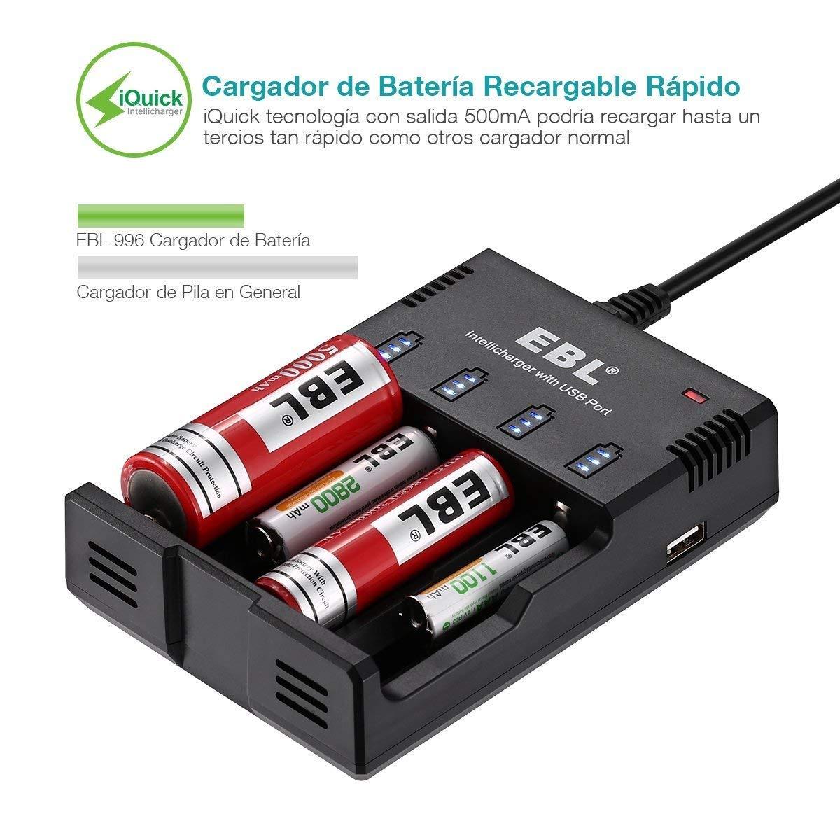 EBL 996 Cargador de Baterías con USB Puerto para Cargar Inteligente 1-4 AA, AAA, Ni-MH Ni-CD y Pila Recargable Li-Ion: 18650, 25560, 22650, 17670, ...
