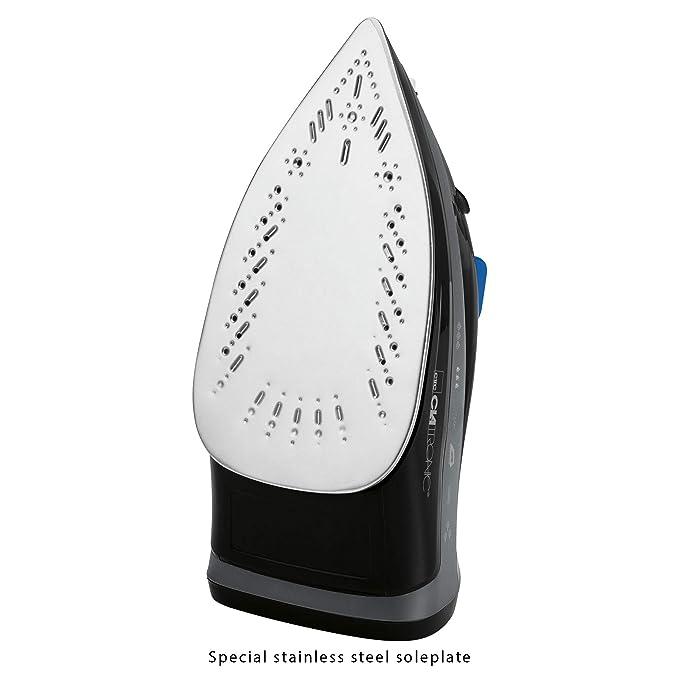 Clatronic DB 3703 Plancha Suela Acero INOX, Vertical, Golpe de Vapor, autolimpieza, antigoteo, 7 Funciones 1800W, 1800 W, Negro/Azul