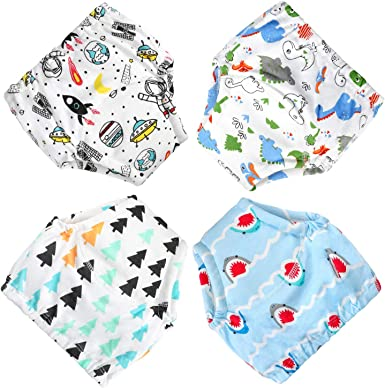 Breathable Comfort Cotton Reusable Washable Underwears 3 Pack Potty Training Pants for Baby//Toddler//Boys Anti-Side Leakage