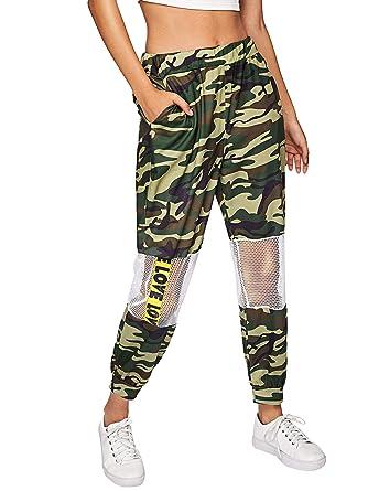 47fc98edb7203b SOLY HUX Women's Elastic Waist Casual Sweatpants Crop Pants with Mesh Panel  Army Green S