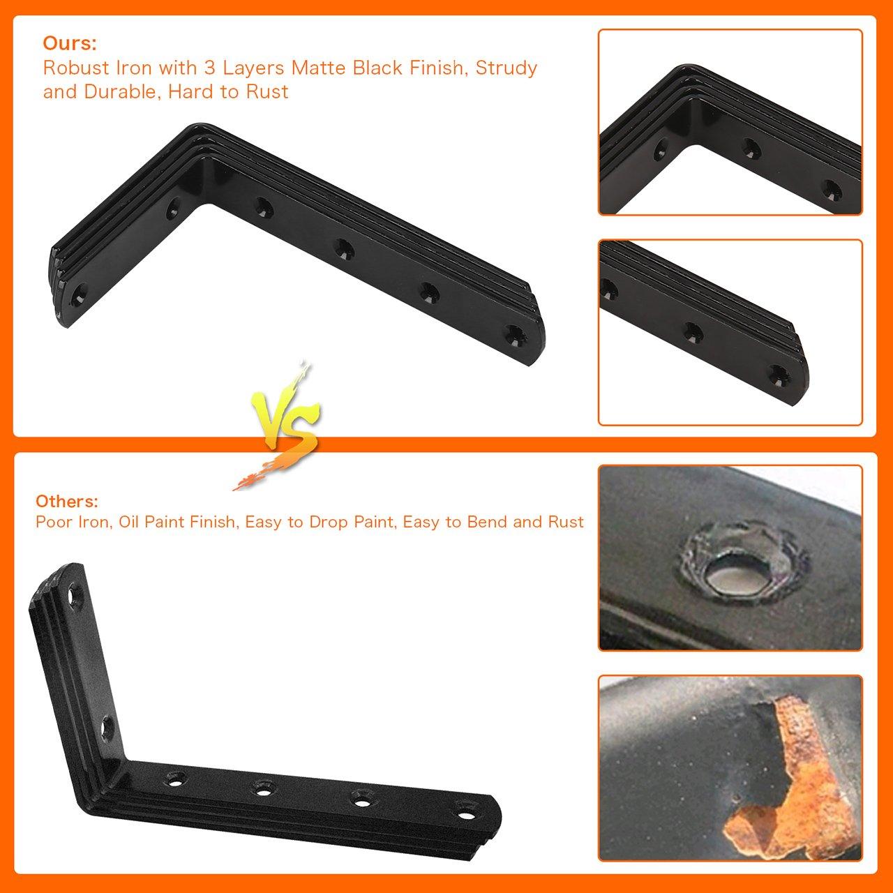 FlexDin 4Pcs Metal Heavy Duty L Corner Brace Joint Angle Bracket Shelf Brackets Wall Decorative Corner Brackets 3 x 5 in Matte Black and 4Pcs Multifunctional S Hooks Hanging System