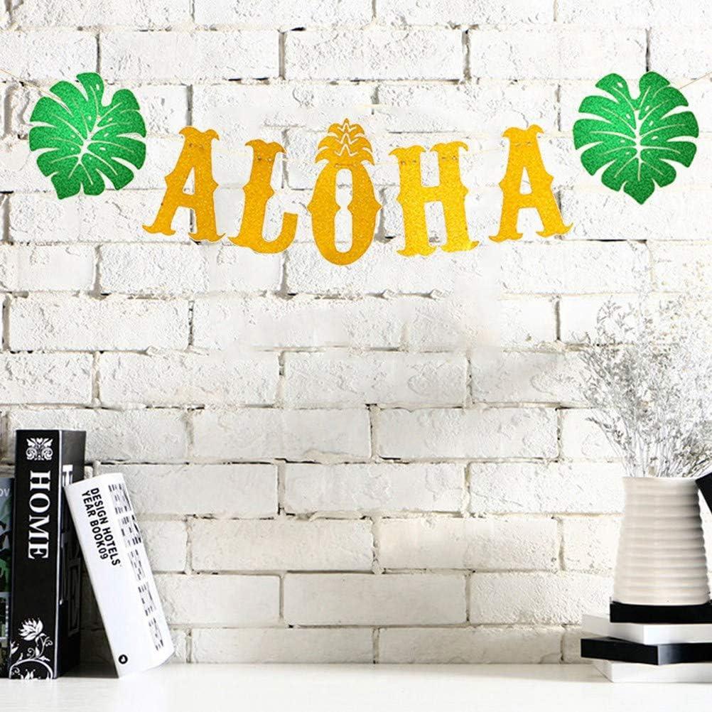 Amosfun Aloha Party Banni/ère Hawa/ïenne Luau Banni/ère Guirlande avec Feuilles Vertes pour Anniversaire De Mariage Tropicale /Ét/é Piscine Plage F/ête Fournitures