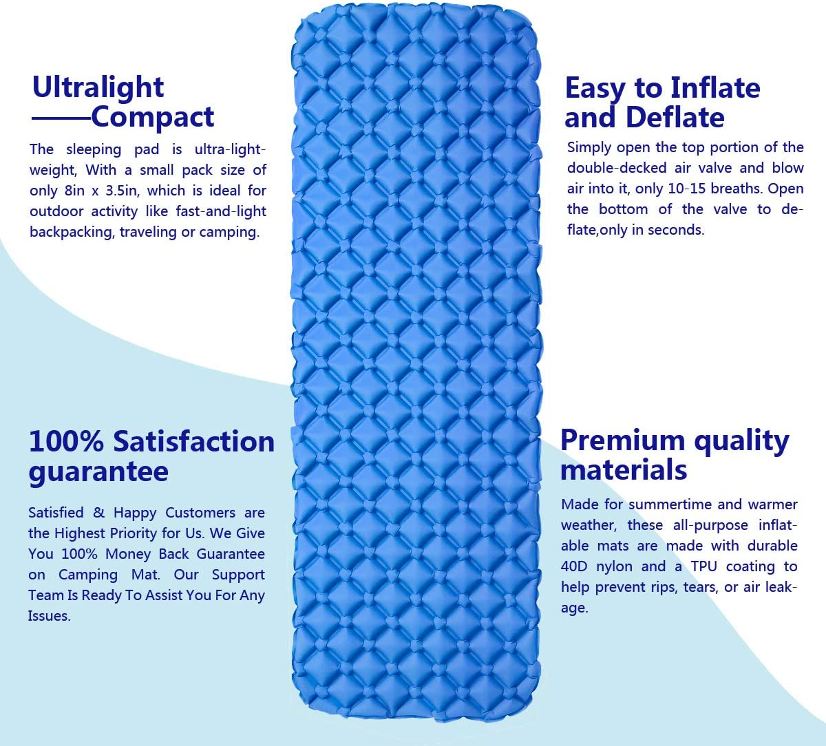 Hiking EKKONG Inflatable Sleeping Pad Outdoor Lightweight Small Packing Airbed for Camping Ultralight Sleeping Mat Beach Travel