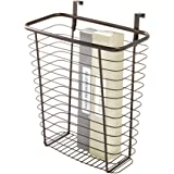 iDesign Axis Steel Over the Cabinet Storage Basket Organizer Waste Basket, for Aluminum Foil, Sandwich Bags, Cleaning…