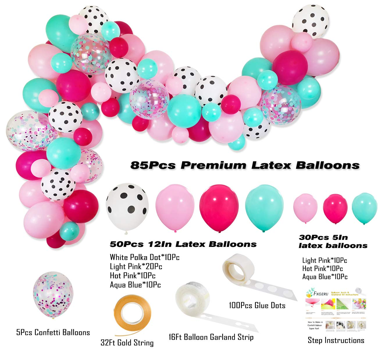 88 Pack 12 5 Rose Red Pink Sea Foam Blue White Polka Dots Latex Balloons Confetti Balloon for Baby Shower Kids Girls Boys Surprise Birthday Surprise Party Supplies Surprise Party Decorations Balloons Garland Kit