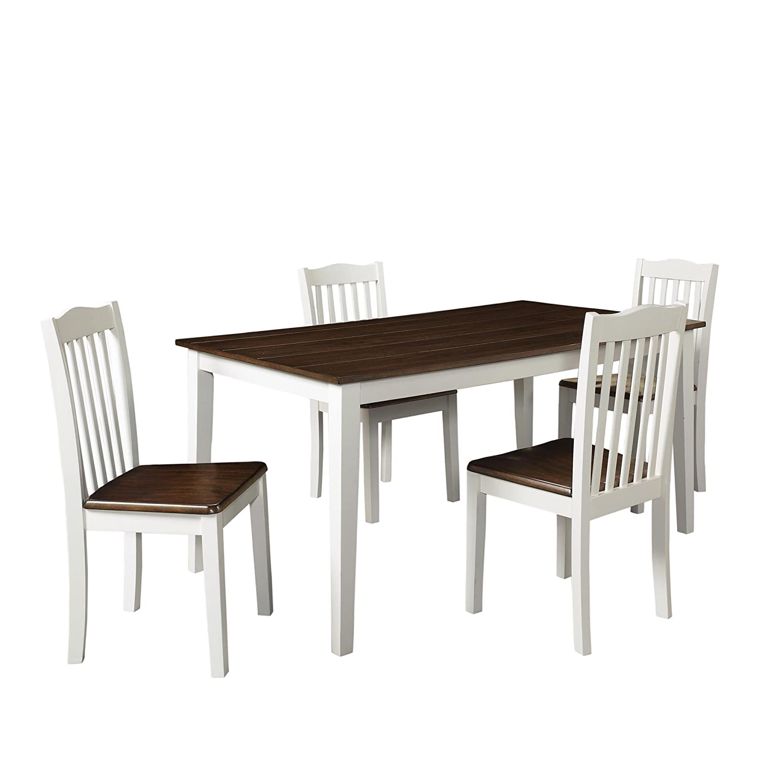 white rustic dining table. amazon.com: dorel living shiloh 5 piece rustic dining set: kitchen \u0026 white table l