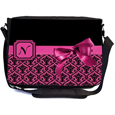 "Rikki Knight Letter ""N"" Pink Monogram Damask Bow Design Premium Messenger Bag - School Bag - Laptop Bag - with padded insert for School or Work - With Matching Pencil Case"