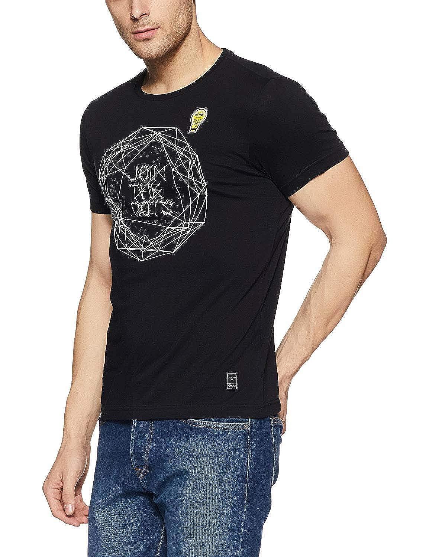 Indian Handicrfats Export Black Printed Slim Fit Cotton Mens T-Shirt