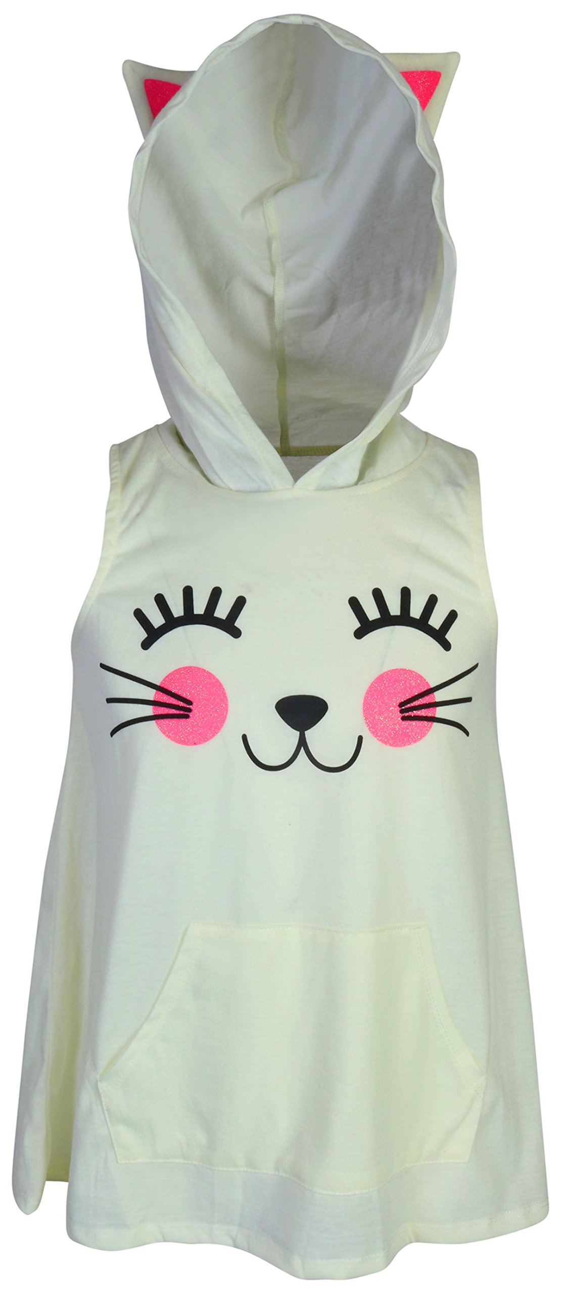 dELiAs Girl's Sleeveless Summer Pajama Short Set With Animal Character Hood, Cat, Size 14/16' by dELiA*s (Image #2)