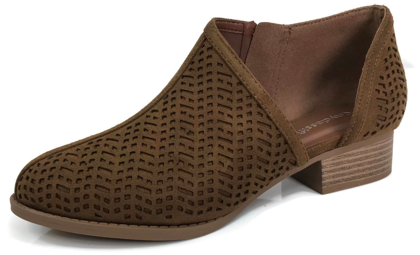 Womens Ankle Bootie D'Orsay Cut Out Perforated Open Side Closed Toe, Chestnut, 10 by City Classified (Image #1)