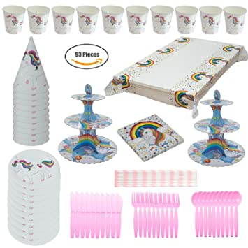 Amazon.com: Unicornio fiesta suministros Sparkle Rainbow Kit ...