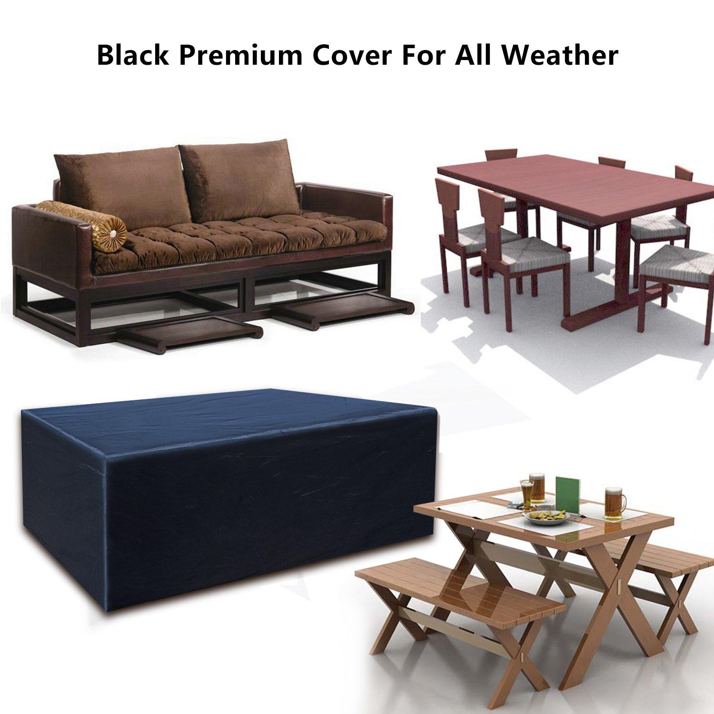Buzazz Fundas de Muebles Oxford Tela Impermeable Resistente al Polvo Anti-UV Protección Exterior Muebles de Jardín Cubiertas de Mesa y Silla Negro ...