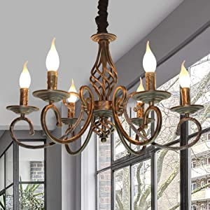 Ganeed Rustic Chandeliers,6 Lights Rustic French Country Chandelier,Metal in Antique Bronze Pendant Chandelier,Pendant Light Fixture for Island Kitchen Farmhouse Dining Room Living Room