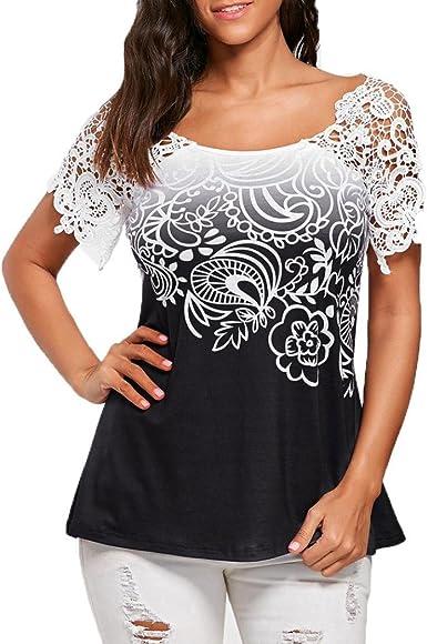 Xinantime_Blusa de mujer Camisetas Mujer Verano Elegante Camisetas Mujer Manga Corta Algodón Camisetas Sin Hombros Mujer Camiseta Mujer Fiesta ...