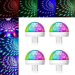 USB Mini Disco Light, 4Packs, Party Lights Ball Sound Activated Strobe, ReKeen USB Party Light DJ LED Lamps for Home Room Party Birthday DJ Bar Karaoke Xmas Wedding Show