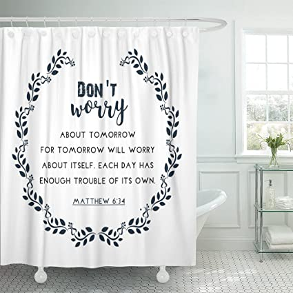 TOMPOP Shower Curtain Psalm Bible Quote In Wreath Text Verse Scripture Waterproof Polyester Fabric 72 X