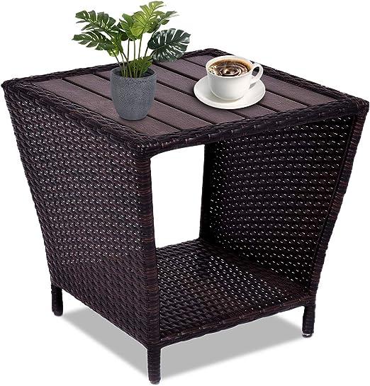 Costway – Mesa de ratán para jardín, mesa para terraza, balcón mesa de té, mesa auxiliar, 50 x 50 x 48 cm: Amazon.es: Jardín