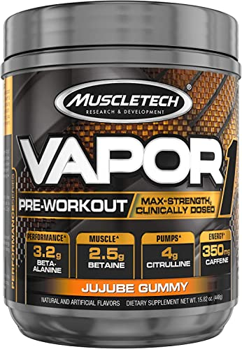 Muscletech Vapor One Pre Workout Powder, One Scoop Formula with Betaine HCL, Creatine and Beta Alanine to Boost Energy Amplify Muscle Building, Jujube Gummy, 20 Servings 14.8oz