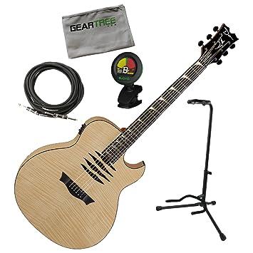 Dean MAKO Dave Mustaine acústica eléctrica llama Top brillante Natural W/geartree gamuza, soporte, sintonizador, y cable: Amazon.es: Instrumentos musicales