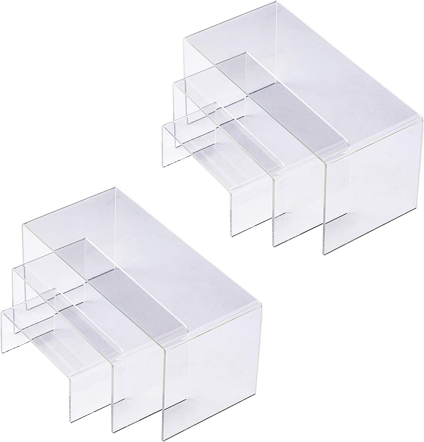 X L MAGNET Acrylic Display Risers 2 Sets of 3 Size Steps Acrylic Display Stand Anti-Corrosion Clear Showcase Display Shelf for Figure Collection Jewelry Cup Cake Buffet