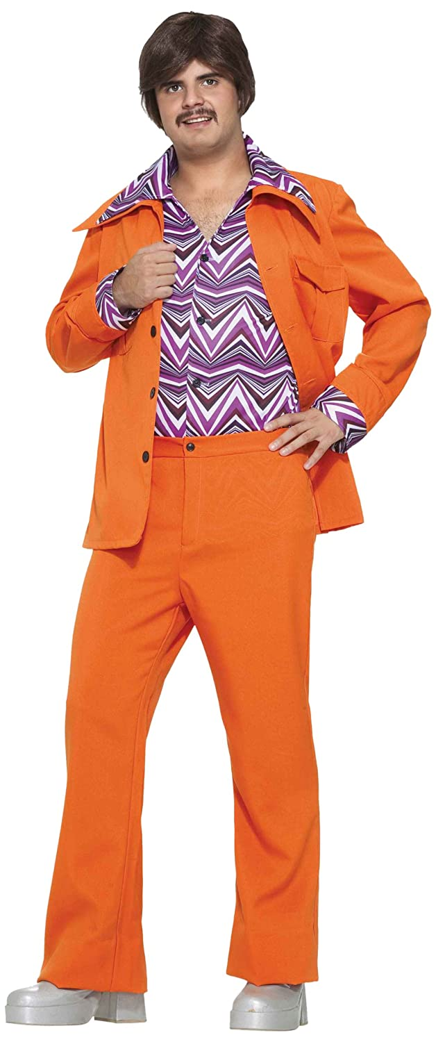 amazoncom forum novelties mens 70s leisure suit costume orange standard clothing