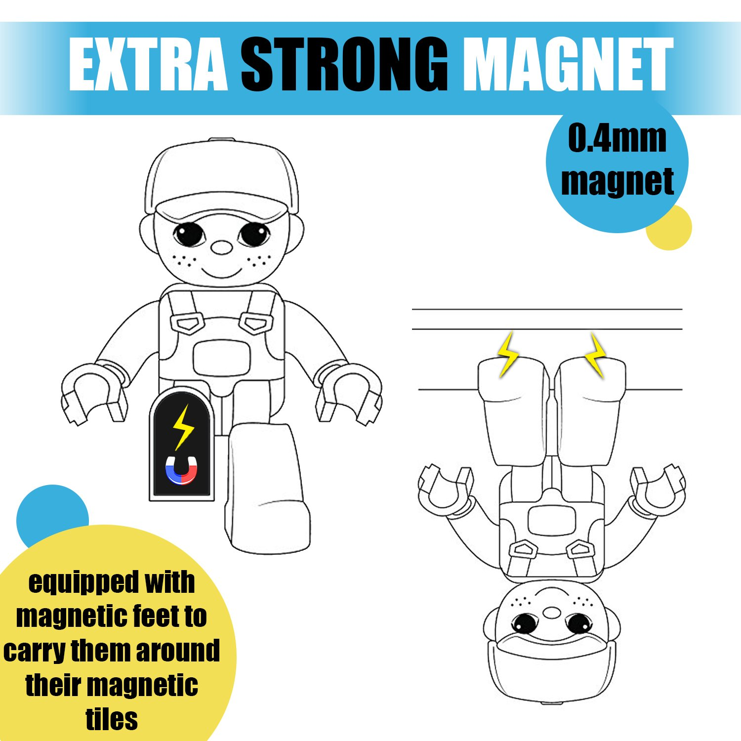 Magnetic Figures Set of 4 -Toddlers Action Toy People, Magnetic Tiles Expansion Pack for Boys and Girls - Banker Father Educational STEM Toys Add on Sets for Magnetic Blocks (3 Pack Banker Set) by Pythagoras Magnets (Image #6)