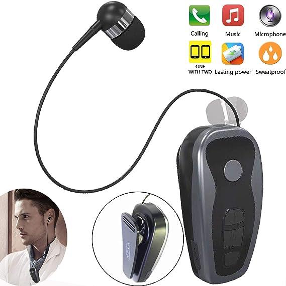 Amazon Com Bluetooth Headset Headphone Wireless Earpiece 11 Hours Talking Time Business Sports Earbud With Clip Retractable Earphone For Women Men Office Workout Car Driver Trucker