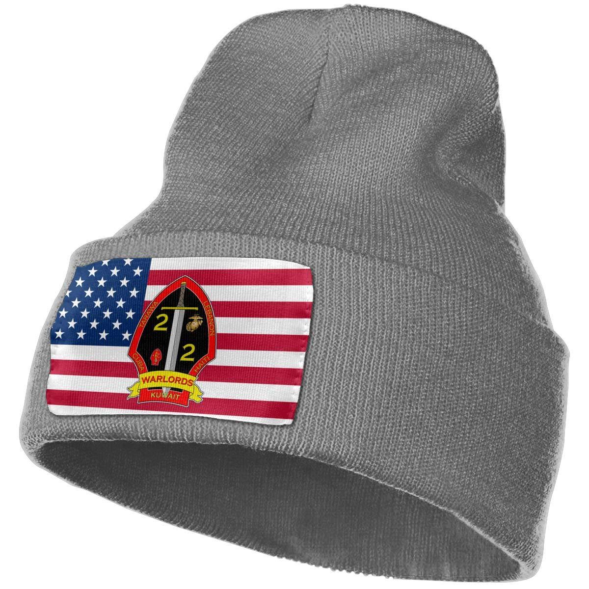 2nd Battalion 2nd Marines Men/&Women Warm Winter Knit Plain Beanie Hat Skull Cap Acrylic Knit Cuff Hat