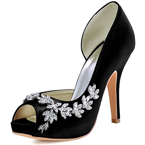 a1f83394bbe Elegantpark HP1560IAC Women Peep Toe Platform High Heel Pumps Rhinestones  Satin Evening Party Dress Court Shoes