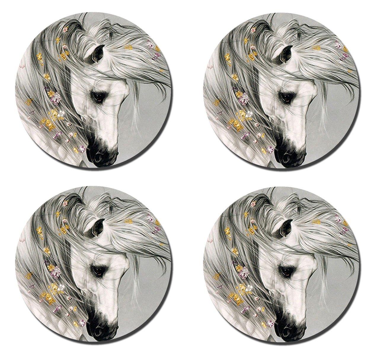 Topa Horseシリーズカスタムファッションクラシックコルクマットラウンドコースター4枚セットマグケトルBeverageキッチンホームコースター 9.5x9.5x0.5 Inches  Abstract Horse-2 B07FB8GQSJ