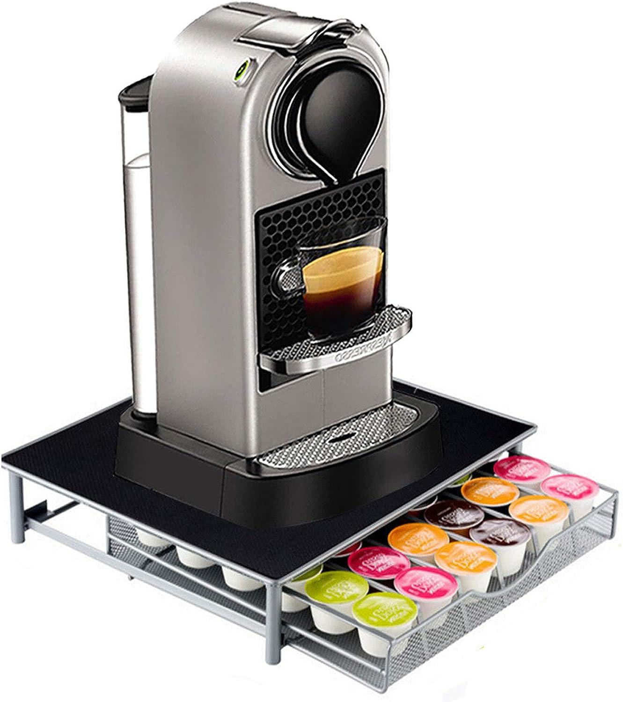 Top Home Solutions - Soporte para cafetera y cápsulas con cajón de almacenamiento para cápsulas Nespresso y Dolce Gusto: Amazon.es: Hogar