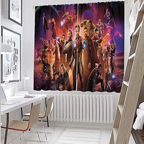 """Super Hero Iron Man Thor Hulk Captain America 43 Living Room Curtains Super Hero Curtains 84""""x63"""" ,for Bedroom Living Room Thermal Insulated Window Treatment 2 Panels Polyester Fabric"""