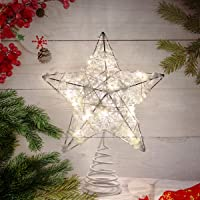 Metal Glittered Christmas Tree Topper Artificial Star Decoration for Bedroom Living Room Wire Star Topper for Christmas…