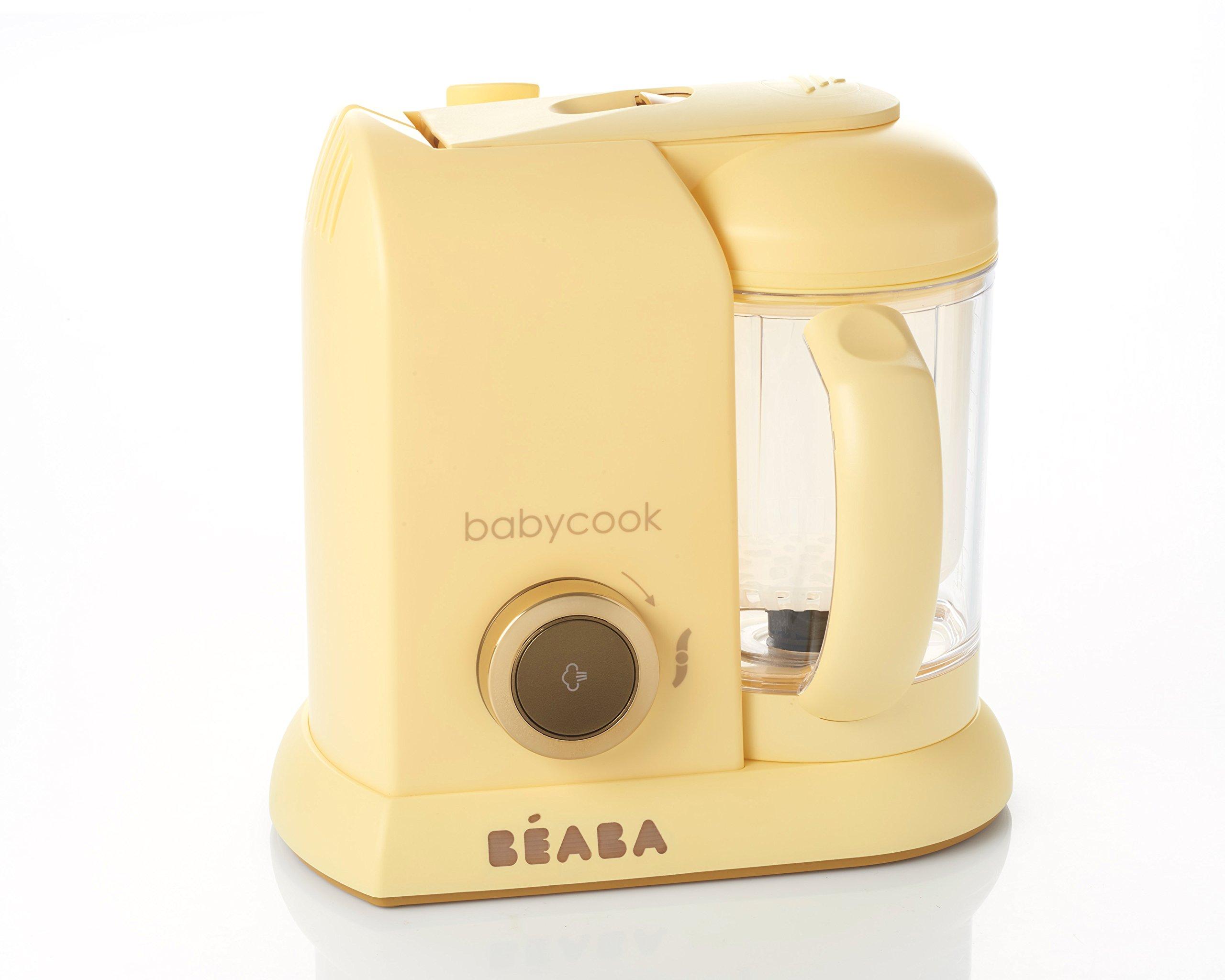BEABA Babycook Macaron 4 in 1 Steam Cooker & Blender and Dishwasher Safe, 4.5 Cups, Lemon