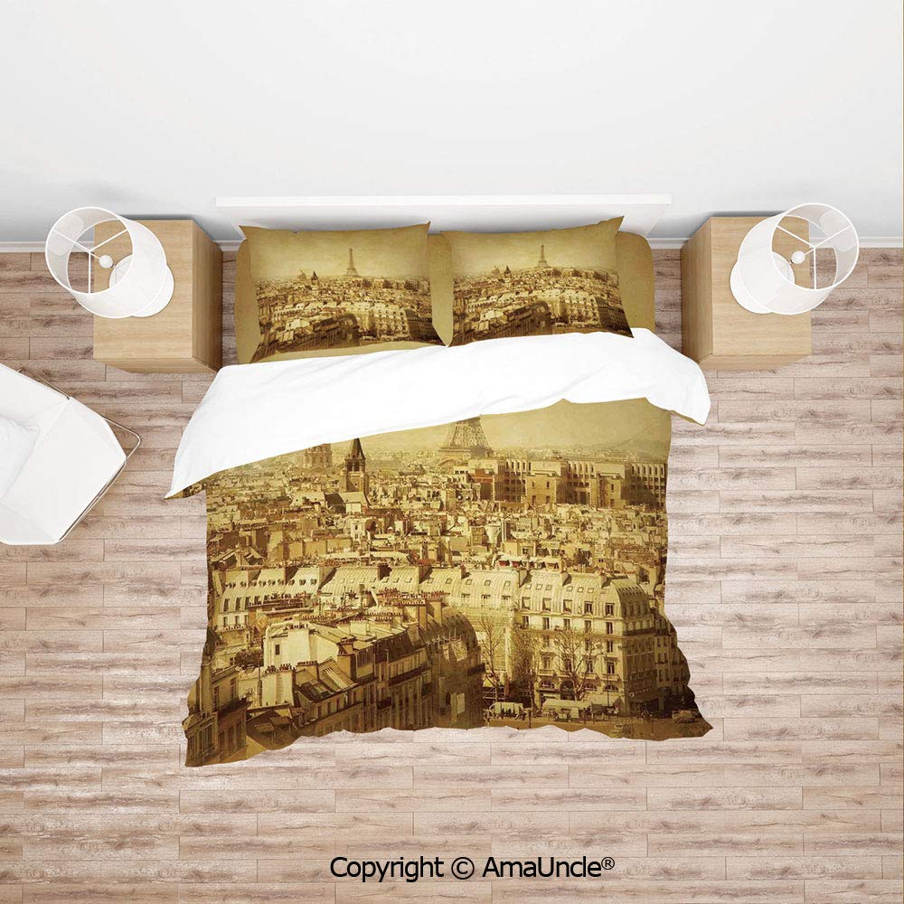 SCOCICI Classic Photo of Eiffel Tower Paris National Landmark Old Album Memories Vintage 4Pcs Bedding Set Duvet Cover Set Bedding for Decoration