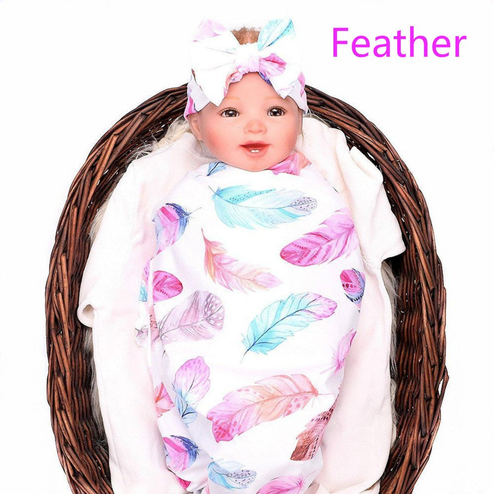 LINFON Newborn Baby Sleep Print Swaddle Blanket Large and Bow Headband Value Set Receiving Blankets (Feather)