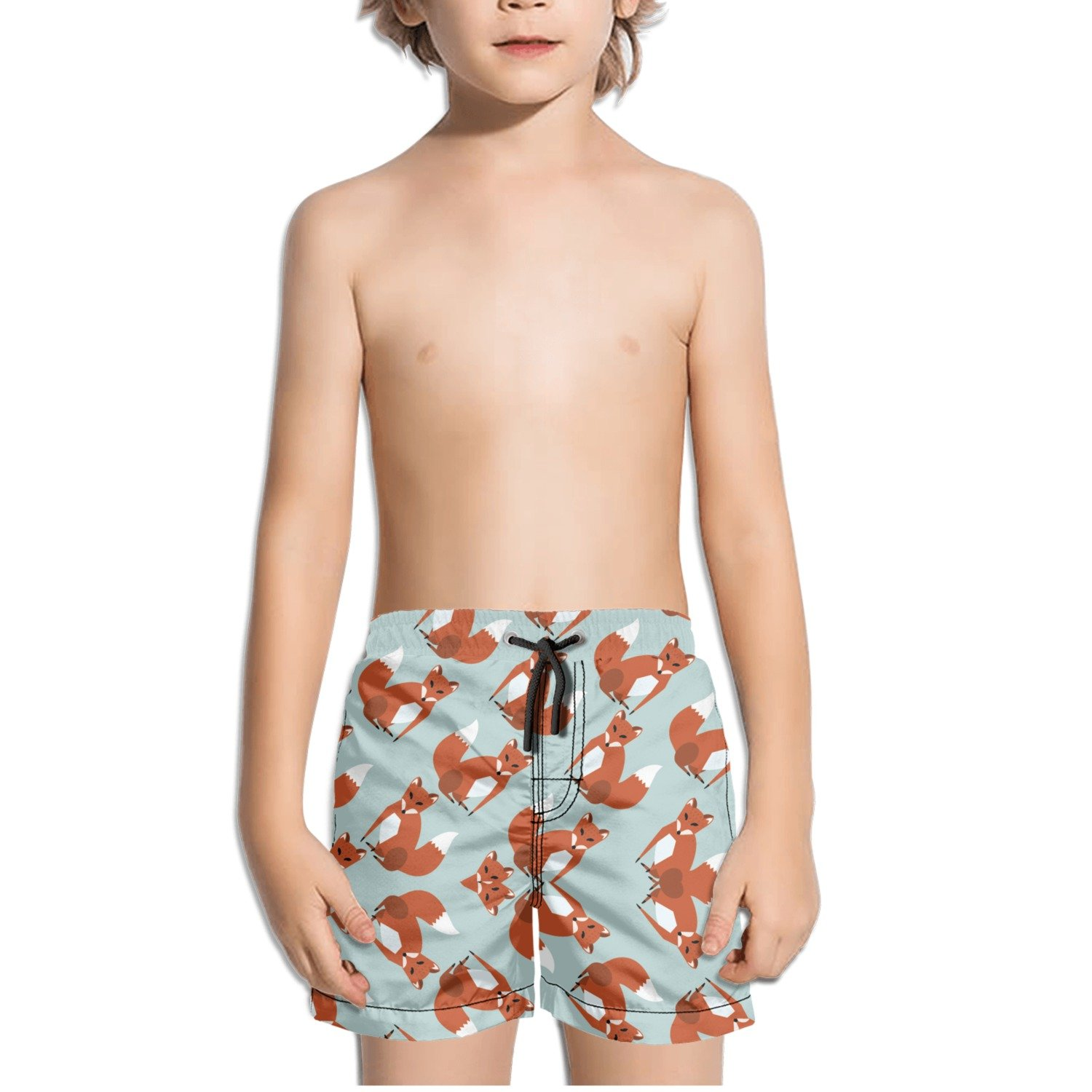Fox Cool Design Pattern Kids Boys Fast Drying Beach Swim Trunks Pants