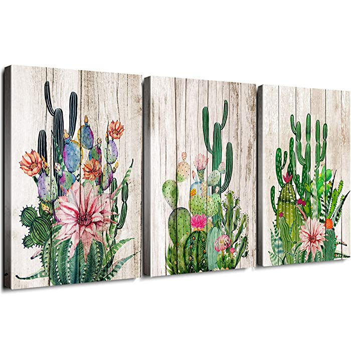 "Cactus Decor Bathroom Canvas Prints Wall Art Green Tropical Desert Fleshy Plant Watercolor Paintings Hand Painted on Wooden Board Set of Three 12"" x 16"" 3 Pieces Framed Pictures Spiny Pink Flower"