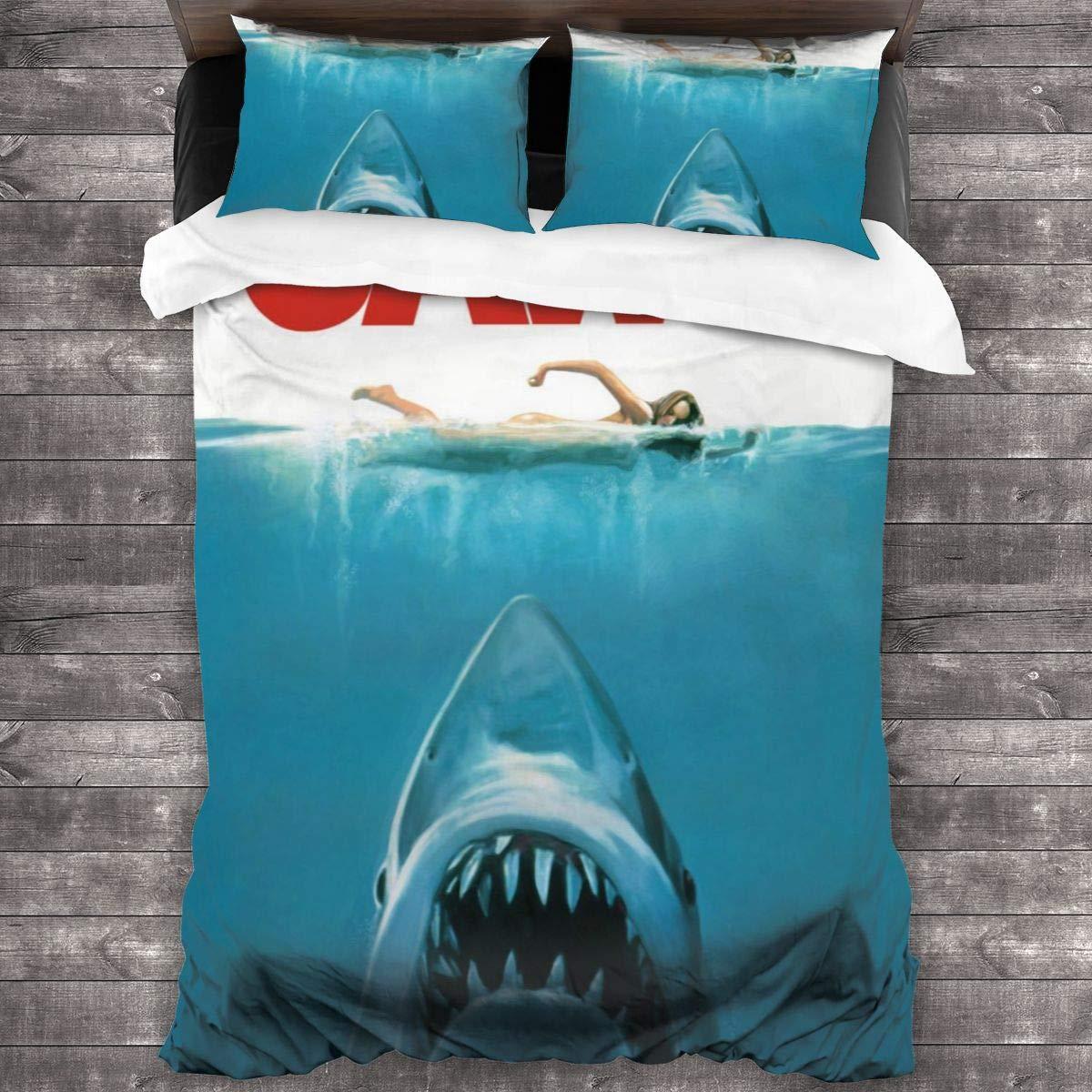 Nicokee 3 Piece Comforter Set Jaws Biting Shark Naked Girl Swimming Bedding Set Duvet Cover and Pillowcase Bedroom Three-Piece Bedding Room Decor for Adult Women Men Teens