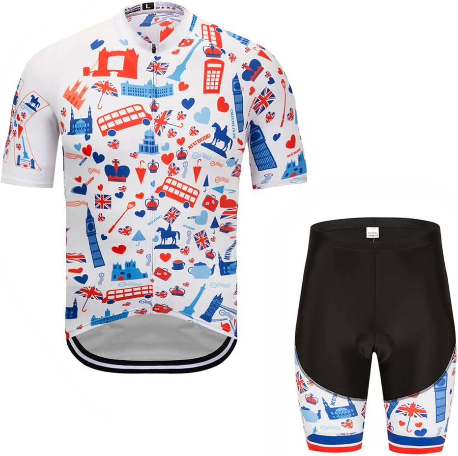 GWELL Hombre/ /Rueda equipaci/ón de Bicicleta Camiseta Manga Corta Pantalones con Asiento Acolchado