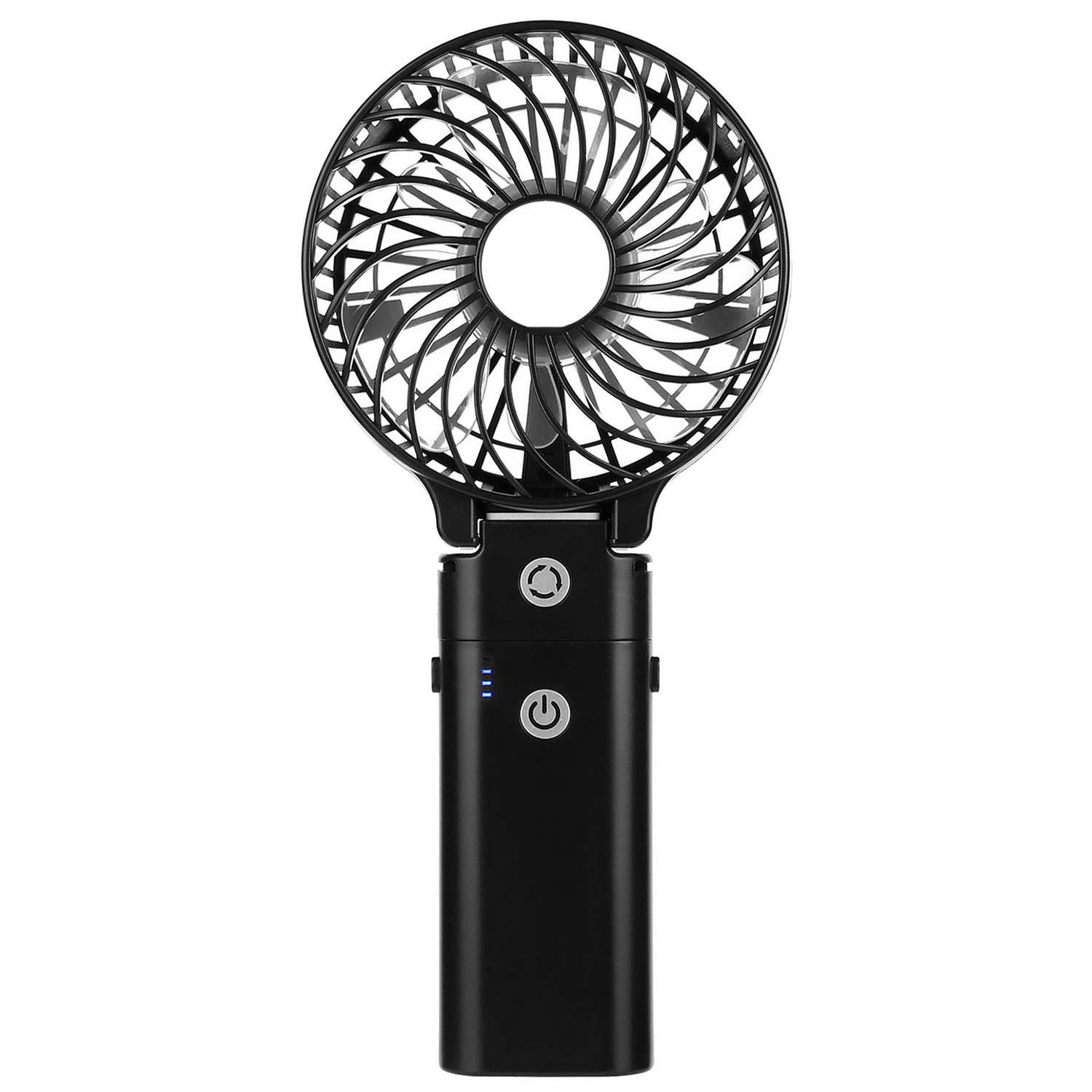 COMLIFE Handheld Fan with 5200mAh Power Bank, Portable Battery Powered Fan with 5-20H Working Time, 3 Speeds, Strong Airflow, Lightweight & Foldable Design, for Indoor and Outdoor Usage(Black)