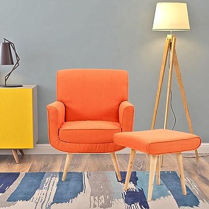 Designer-Sessel mit Hocker, schlicht, modern, Stoff, Sessel mit Hocker fürs  Wohnzimmer Modern Orange