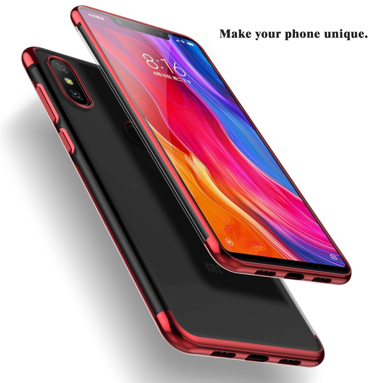 Rojo Kugi Funda Xiaomi Mi 8 SE,Xiaomi Mi 8 SE TPU Transparente Slim Silicona Case Cover para Xiaomi Mi 8 SE Anti-ara/ñazos