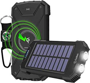 Cellet Heavy Duty Solar Power 10000mAh Power Bank. Waterproof, Dust-proof, Shockproof Battery Pack. All-In-One: Flashlight, Compass, Qi Certified Wireless Charging for iPhone, Android, Tablets (Black)