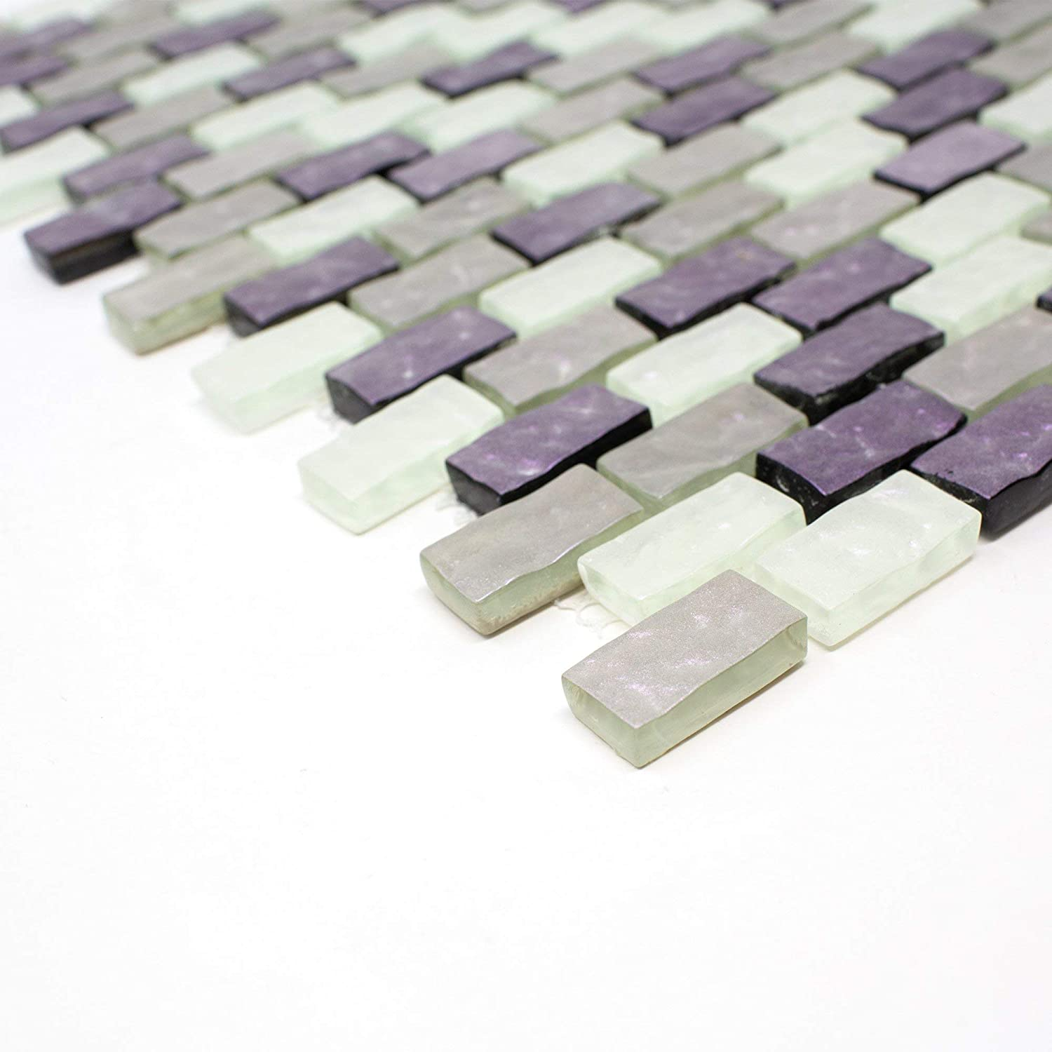 - TPRNG-01 Small Brick Pearl Look Purple Glass Mosaic Tile