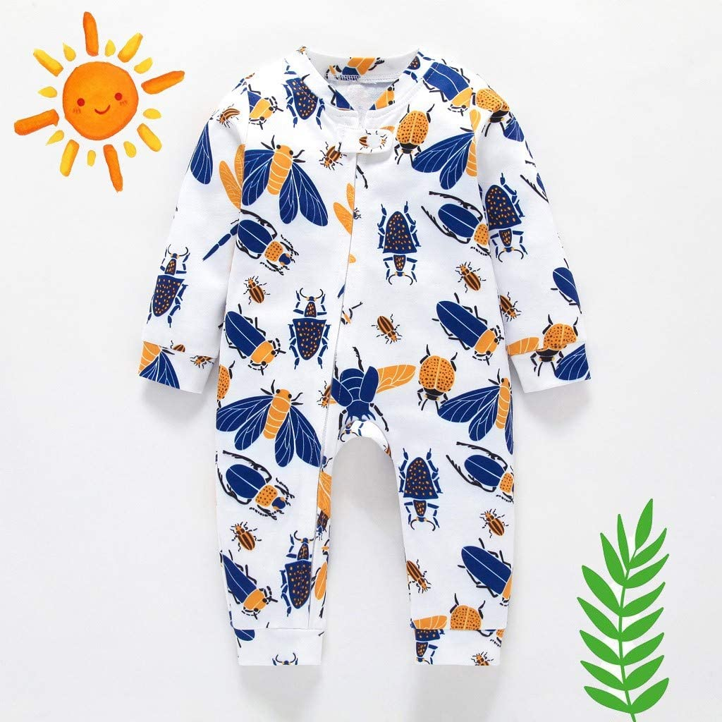 Toddler Kids Newborn Baby Boys Girls Long Sleeve Romper Clothes,Cartoon Insect Print Rompers Zipper Jumpsuit Set