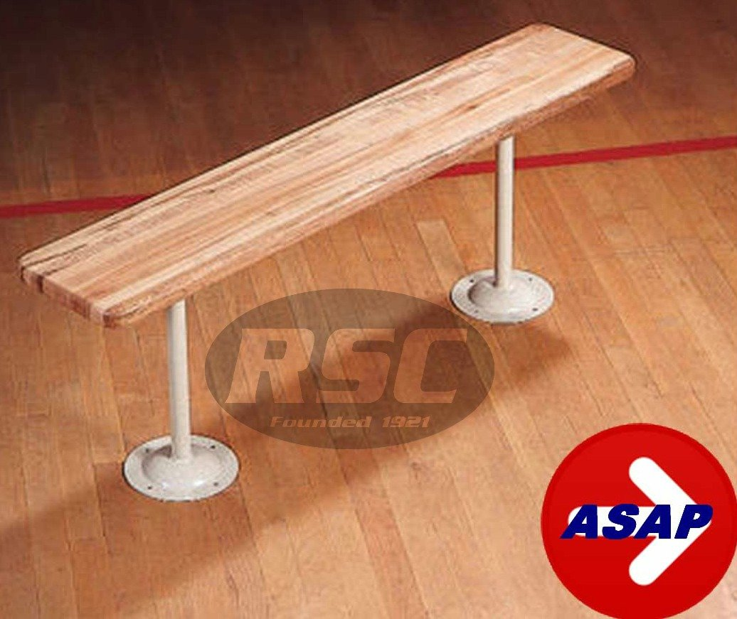 9.5'' Wide Wood Locker Room Bench With Clear Anodized Aluminum Pedestals - 42'' L x 9.5'' W x 17.5'' H
